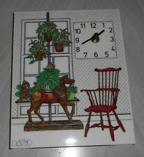 Vintage Retro DAVID Plastic Clock  - 8.25x10.25  - Chair, Horse, Window, Plants