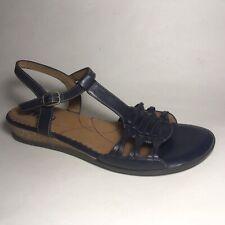 Indigo Clarks Leather Huaraches Sandals Blue Buckle Strap Sz 9 Cork Wedge 83987