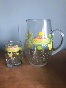 MICKEY MOUSE Glass Pouring JUG And Glass Disney Lemonade From Disneyworld USA