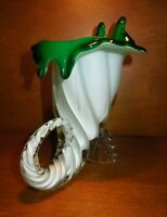 Striking Murano Green and White Trumpet Vase Encased in Clear, with Applied Feet
