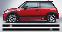 BMW MINI ONE JOHN COOPER WREATH SIDE STRIPES GRAPHICS VINYL DECALS STICKERS PAIR