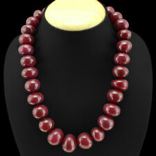 BRILLIANT ELEGANT 1118.00 CTS NATURAL RED RUBY ROUND BEADS NECKLACE - GEM EDH
