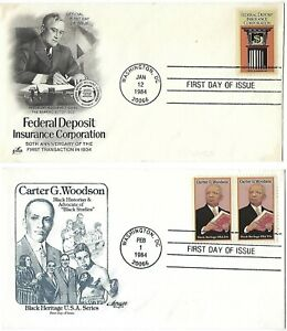2 '84 FDCs FDIC 50th Anniv. & Carter G. Woodson, Black Heritage SC#2071 73