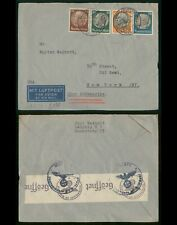 Mayfairstamps Germany 1940 Medallions Combo Censored Airmail to New York Cover w