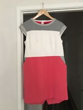 Karen Millen - Colourblock Ponte Dress - Coral, Grey, White - US 10 - AU 14