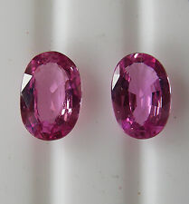 2.60ct!! PINK CEYLON NATURAL SAPPHIRES MATCHING PAIR +CERTIFICATE INCLUDED