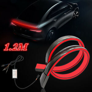 120CM LED Car Rear Trunk Roof Lip Spoiler Tail Wing Sticker Carbon Fiber Style
