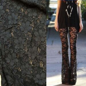 Ladies Skinny Flare Black Soft Lace Trousers Summer Beach Travel Dance Gothic