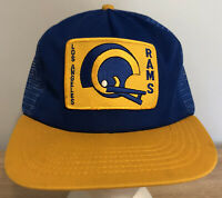 Los Angeles Rams Vintage Hat Snapback Cap Trucker Mesh Blue NFL Football 80s USA
