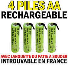 4 PILES ACCU RECHARGEABLE 1.2V NI-MH AA LR06 1300mAh AVEC LANGUETTE A SOUDER