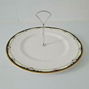 'ROYAL DOULTON'- 'RHODES'  REMOVABLE SILVER HANDLE PATTERN EDGE CAKE STAND