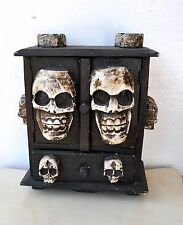 Old Wooden Skull Cabinet Halloween Santa Muerte Death Cult Occult Art Witchcraft