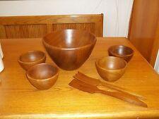 Nice Solid Wood Salad Bowl Set ~ Salad bowl with 4 bowls with fork & tong