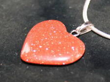 2 x Sun Sitara Goldstone Crystal Heart Pendant Reiki Blessed for Fortune Wealth
