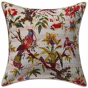 White Kantha Pillow Cover Indian Cotton Bohemian Patchwork Kantha Cushion Cover