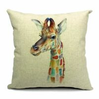 Flax Decorative Throw Pillow Case Cushion Cover(Color giraffe)45*45cm E7J8