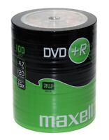 100 Maxell DVD+R Recordable Blank Discs BULK SHRINK WRAPPED Pack