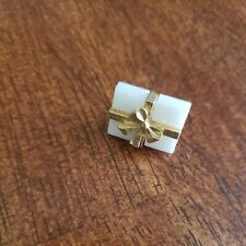 Tie Tack Lapel Pin Men's Present White Box Gold Tone Bow Backing Jewelry Costume