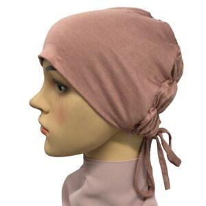 Elastic Tie Back Muslim Women Inner Hijab Caps Plain Jersey Underscarf Hats