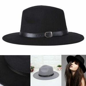 Ladies Vintage Wool Felt Trilby Fedora Jazz Wide Brim Hat Large Cap Gangster