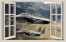 Fighter Jets Window View Repositionable Color Wall Sticker Mural 17x27