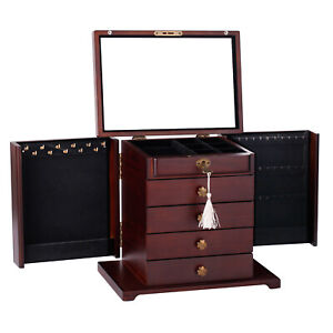 Large Wooden Jewellery Cabinet Rings Storage Boxes Display Case Mirror Organiser