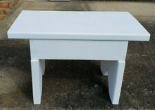 """DECORATIVE WOOD STOOL PAINTED FLAT WHITE DIMENSIONS 9"""" TALL 14"""" LONG 7.50"""" WIDE"""
