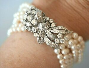 """Vintage Platinum 4 1/2 Carat Diamond Bow Knot Pearl Bracelet 7 1/2"""" Medium Wrist"""