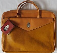 Dondup men`s brand new 100% real leather breifcase document bag vintage Italy