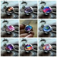 Nebula Galaxy Double Sided Pendant Necklace Planet Women Jewelry Glass Statement
