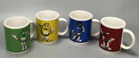 VTG Set of 4 M&M's Mug Coffee Cup Red Yellow Blue Green Collectible Mugs AA