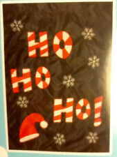 Christmas Outdoor Blk Red White Ho Ho Ho Santa Hat Lrg 28 X40 Flag Free Ship