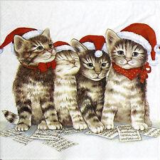 Papel 4x Servilletas Para Decoupage cantando Gatos