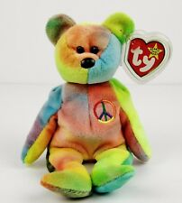 NWMT's - Ty 'Peace' Beanie Baby #4053 (Neon Colors - Old Face, PVC, No Stamp!)