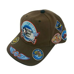 VINTAGE Tuskegee Airmen Black Knights Baseball Cap Hat Strapback Brown EUC