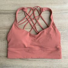 Lululemon Free to Be Wild Long Line Sports Bra Pink Strappy US 8 UK 12 EUC Yoga