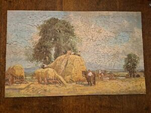 Early hand cut 500 pc vintage wooden jigsaw puzzle