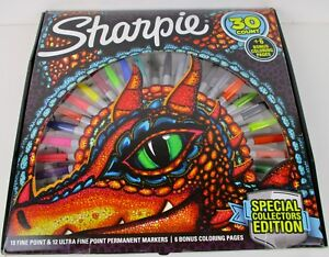 Sharpie 30 Count Special Collectors Edition Gift Set W/ Dragon Coloring Pages