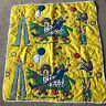 "Vintage Clown Baby Blanket 34"" x 37"" Circus Animal Quilt Style Printed"