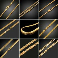 18K Gold Plated Women Men Cuban Hiphop Link Chain Choker Necklace Jewelry 2-10MM