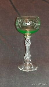 Antique crystal wine glass etched green