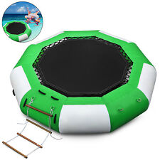 10Ft Inflatable Water Trampoline Jump Floated Water Bounce Platform w/ Ladder