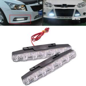 Daytime Running Light 6 LED White 6K Bumper Driving Lamp DRL Signal fit Ch2