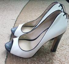 Nine West Heartache White/Black Open Toe Pump Size 9