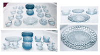 Vintage Anchor Hocking Blue Bubble Dinnerware 56-Piece Set 1940's