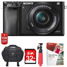 Sony a6000 Alpha Mirrorless DSLR Digital Camera 24.3 MP 16-50mm Lens 32GB Bundle