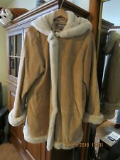 Suede and Genuine Shearling Coat with Hood. Size 2X Womens