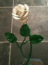 Wrought Iron White metal Rose Anniversary Memorial craft project valentines gift
