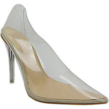 Nude Womens Ladies CLEAR PERSPEX High Heels Stiletto Shoes Sandals Pointed Size