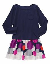 Gymboree MIX N MATCH Geo Navy Pink Drop Waist Long Sleeve A-line Dress 4 5 6 7